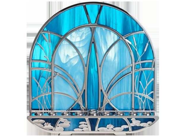 Blue Rhodium Plated Vitrage Hanukiah